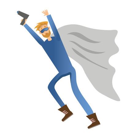 Superhero man with gun. Vector illustration, isolated on white background.