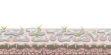 Seamless unending landscape background for arcade game or animation. Stony ground or cobblestones with grass. Vector illustration, isolated on white background.