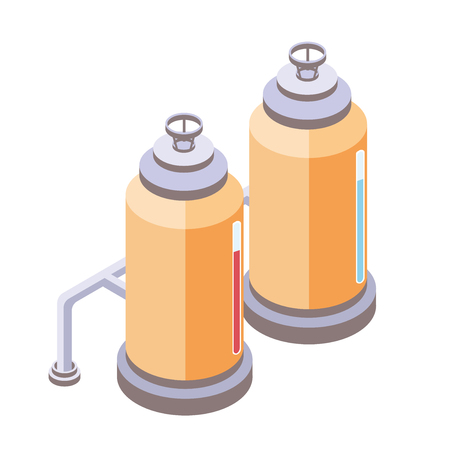 Yellow tanks for liquid with pipes, chemical or food industry. Vector illustration in isometric projection, isolated on white background. Illustration