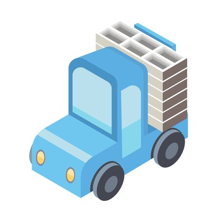 fork lifts trucks: Little blue truck or loader. Vector illustration in isometric projection, isolated on white background.