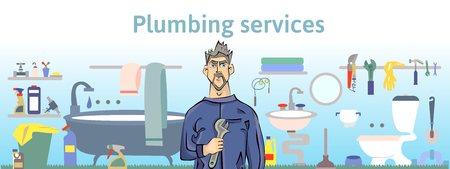 taps: Plumbing services. Plumber man holding a wrench. Horizontal vector illustration for header of website or brochure. Illustration