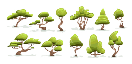 Green tree set. Cartoon vector illustration, isolated on white background.