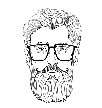 The face of a bearded man with glasses. Vector portrait illustration, isolated on white background. Outline drawing. Illustration