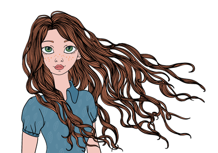 longhaired: A young girl with long waving in the wind hair. Vector portrait illustration, isolated on white background. Illustration