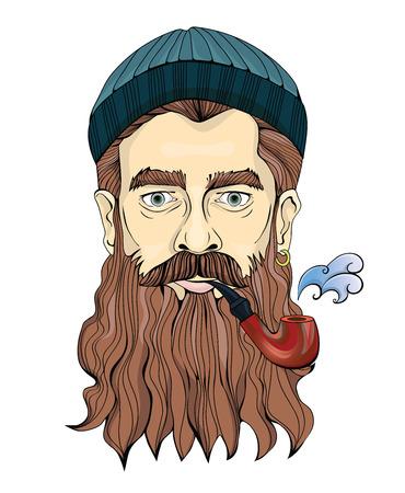 Ein Mann mittleren Alters mit einem Bart, der ein Rohr raucht. Der Seemann oder Fischer in einem gestrickten Hut. Vektor Porträt Illustration, isoliert auf weißem Hintergrund.