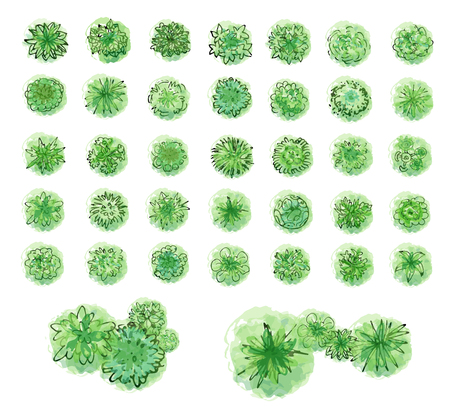 조경 계획을위한 각종 녹색 나무, 수풀 및 관목, 최고 전망. 벡터 일러스트 레이 션, 흰색 배경에 고립.
