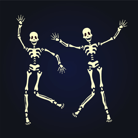 Two dancing skeleton. Vector illustration, isolated on black background. Stock Vector - 84184115