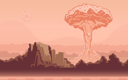 cartoon bomb: Nuclear bomb explosion in the desert. Mushroom cloud. Rocky mountain landscape. Vector illustration.