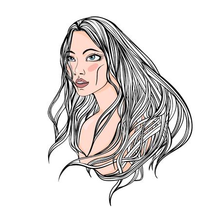 長い髪を持つ美しい若い女の子の肖像画。梨花の顔。ベクトル図では、白い背景で隔離。