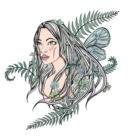 longhaired: Young beautiful longhaired woman among the plants, trees and flowers. cute female face, symbol of spring, mother nature or natural cosmetics. Vector illustration, isolated on white background.