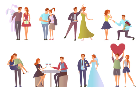 Romantic set for Valentines day. Young man and woman. Cute Couple in love on a date. Walk, dance, romantic dinner, offer hands and hearts. Vector illustration, isolated on white background.