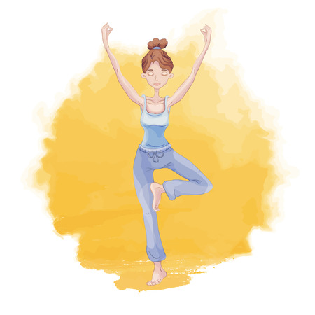 Young woman practicing yoga on a background of sunrise or sunset. Girl standing on one leg in tree pose on a yellow background of watercolor stain. Vector illustration, logo for yoga studio.