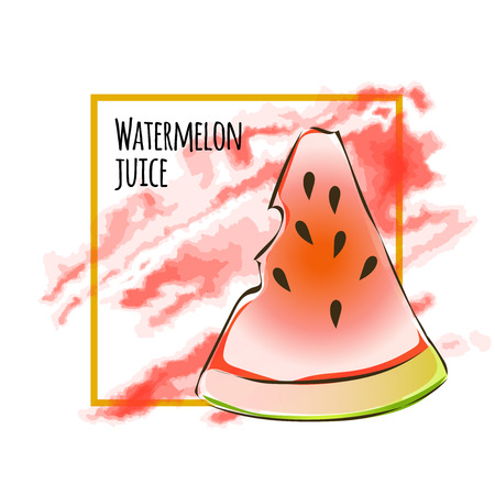 Juicy slice of watermelon. Vector illustration, isolated on white background.