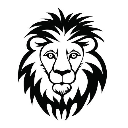 Lion head logo. Vector illustration of animal, isolated on white background.