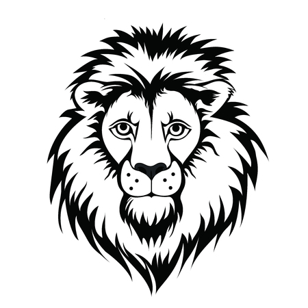 Lion head logo. Vector illustration of animal, isolated on white background.