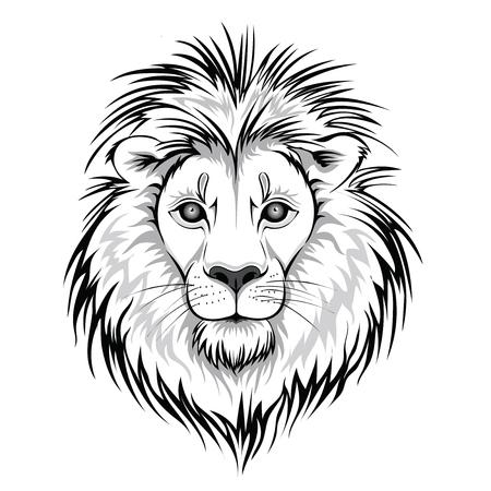 Leeuwenkop logo. Vectordieillustratie van dier, op witte achtergrond wordt geïsoleerd.