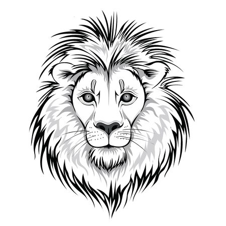 Leeuwenkop logo. Vectordieillustratie van dier, op witte achtergrond wordt geïsoleerd. Stockfoto - 84554054
