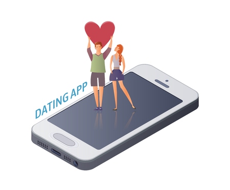 Mobile Dating app concept. Young couple, man and woman on a romantic date on the smartphone screen. A man holding a heart. Vector illustration, isolated on white background.