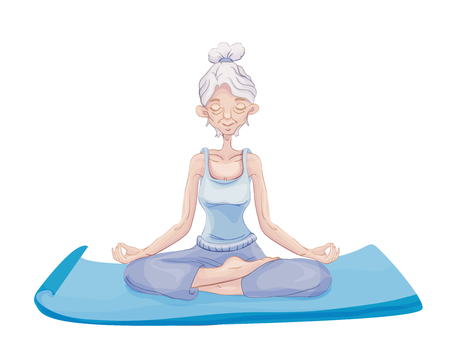An elderly gray-haired woman practice yoga, sitting in the Lotus position on the Mat. Meditation. Active lifestyle and sport activities in old age. Vector illustration, isolated on white background.