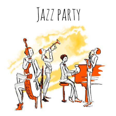 Poster or album cover for jazzband. Concert of jazz music. The Quartet plays jazz. Vector illustration in sketch style, isolated on white background.