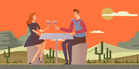 Young couple in love. Man and woman on a romantic date in desert landscape. Vector illustration.