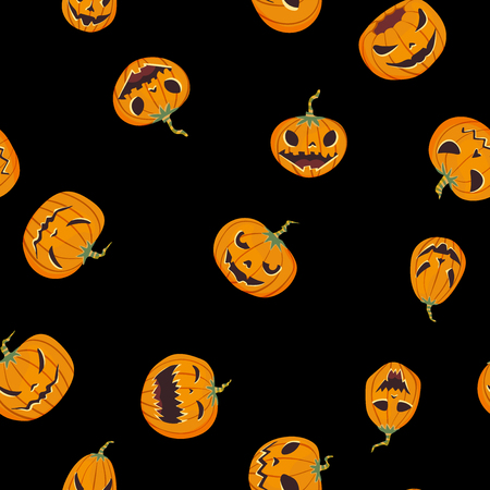 Seamless halloween pattern with carved pumpkinst. Jack-o-lantern. Vector illustration, isolated on black background. Fabric print design.