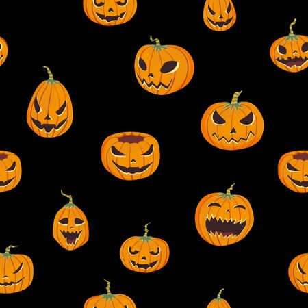 Seamless Halloween pattern with carved pumpkins. Jack-o-lantern. Vector illustration, isolated on black background.