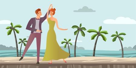 Jeune couple amoureux Homme et femme dansant la danse de salon sur une plage tropicale avec des palmiers. Illustration vectorielle Banque d'images - 85528756