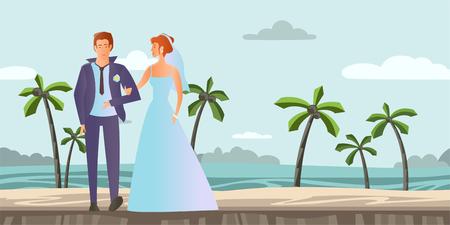 Jeune couple amoureux Homme et femme à la cérémonie de mariage sur une plage tropicale avec des palmiers. Illustration vectorielle Banque d'images - 85421954