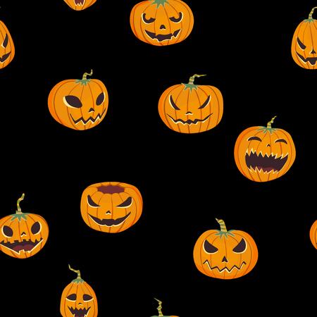 Seamless halloween pattern with carved pumpkinst. Jack-o-lantern black background. Fabric print design.