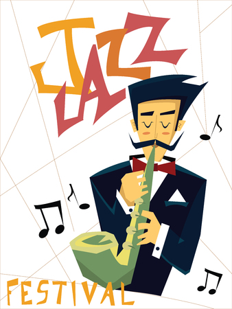 Template of poster for jazz music concert. A man plays the saxophone. Vector illustration.