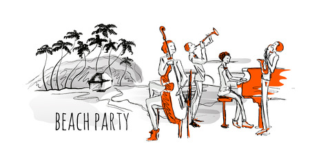 Jazz concert on the beach. Jazz band and sea shore with palm trees. Hand-drawn vector illustration, isolated on white background.