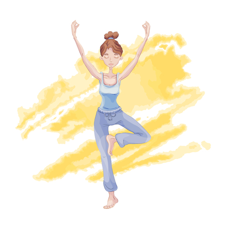 Young cute girl practice yoga illustration. Illustration