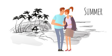 Young couple in love. Man and woman on a romantic date on a tropical beach with palm trees. A man hugs a woman. Vector hand-drawn sketch illustration. Stock Photo
