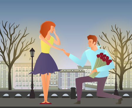romantic date: Young couple in love. Man and woman on a romantic date in the street of the old town. Man with flowers makes a woman an offer of marriage. Vector illustration. Illustration