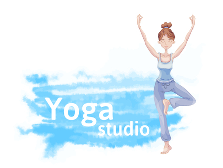 Young cute girl practice yoga, standing on one leg in the Lotus position. Blue watercolor stain in the background. Header for ad or flyers.