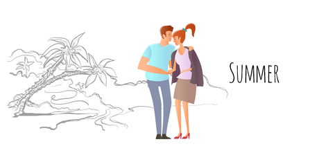 Young couple in love. Man and woman on a romantic date on a tropical beach with palm trees. A man hugs a woman. Vector hand-drawn sketch illustration.