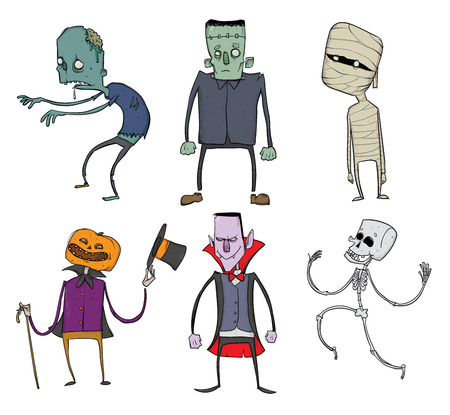 Vector Set of Halloween characters. Zombie, skeleton, mummy, Jack-o-lantern, Dracula and other scary monsters. Illustration, isolated on white background.