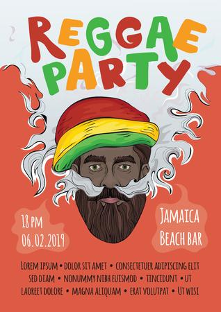 Advertising poster for reggae music template.