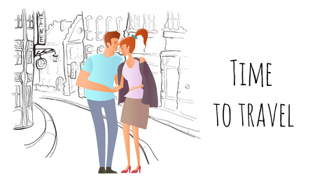 Young couple in love. Man and woman on a romantic date in the street of the old town. A man hugs a woman. Vector hand-drawn sketch illustration.
