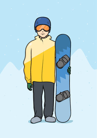 Young man standing with snowboard. Winter mountain landscape in the background. Winter sports, snowboarding. Vector illustration.