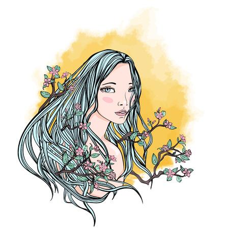 長い髪の女  イラスト・ベクター素材