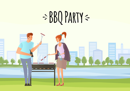 People on picnic or Bbq party. Young Man and woman cooking steaks and sausages on grill. Vector illustration.