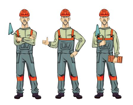 Wall builder, isolated on white background. Standing Man in work uniform with spatula and brick. Vector illustration set.