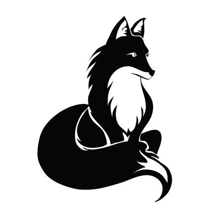 Fox tattoo. Vector illustratie, geïsoleerd op een witte achtergrond