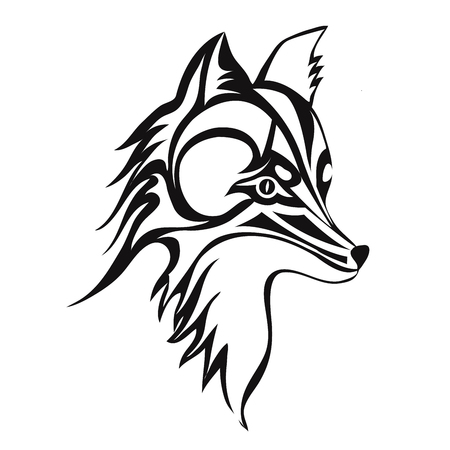 Fox or dog face, tattoo. Vector illustration, isolated on white background