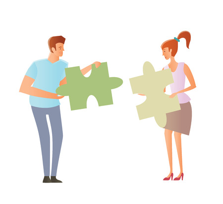 Concept on the topic of compatibility of partners. Problems of mutual understanding between a man and a woman. Young couple holding puzzle pieces. Vector illustration, isolated.