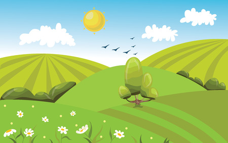 Hilly green field landscape with tree. Cartoon vector illustration.