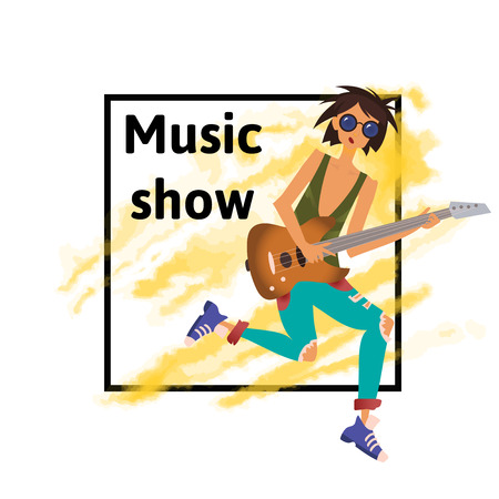 A young caucasian man playing the guitar. Rock musician. Vector illustration, music poster template, isolated on white background.