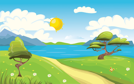Cartoon landscape. Mountains, sea or lake, trees and dirt road. Blue sky with white clouds and sun. Vector Illustration.